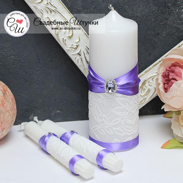 Свадебный набор свечей Афродита (без подсвечников) (сиреневый)