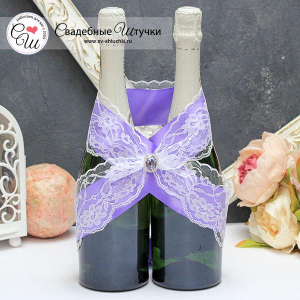 Свадебное украшение для шампанского Афродита (сиреневый)