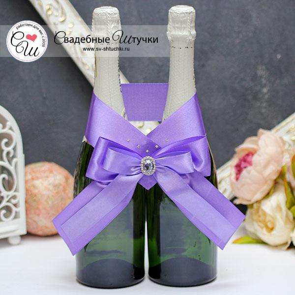 Свадебное украшение для шампанского Ренессанс (сиреневый)