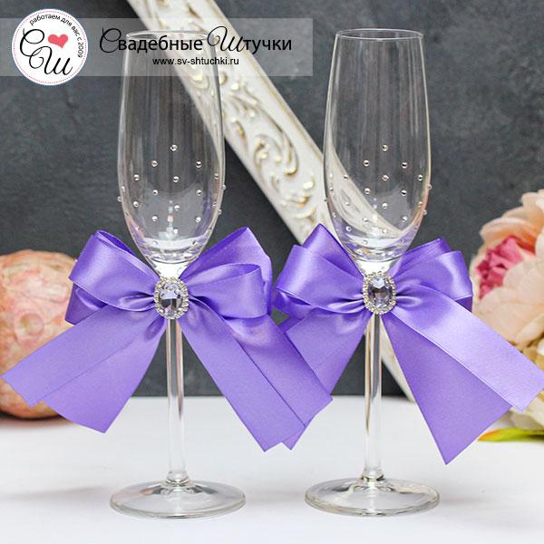 Набор свадебных бокалов молодоженов Ренессанс (2 шт) (сиреневый)