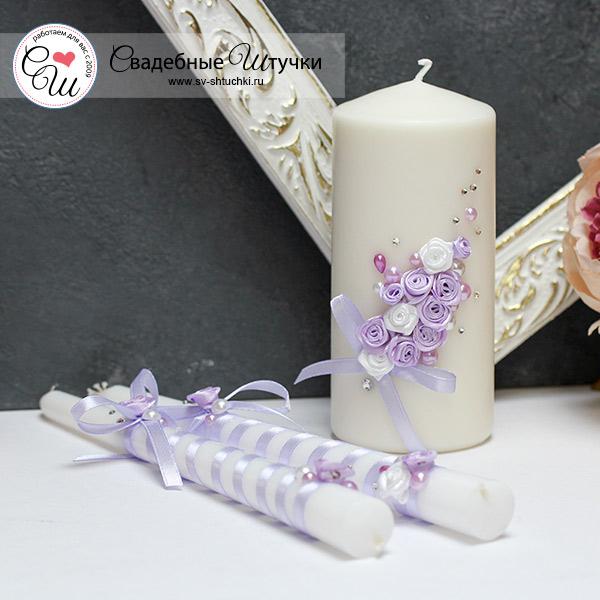 """Набор свадебных свечей """"Софи"""" (3 свечи без подсвечников) (сиреневый)"""