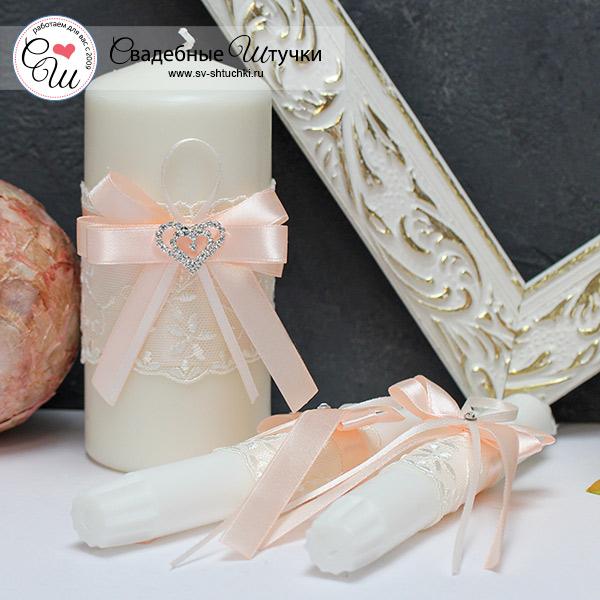 Домашний очаг + 2 свечи Нежное сердце (без подсвечников) (пудровый)