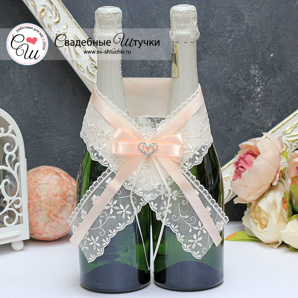 Украшение для шампанского Нежное сердце (пудровый)