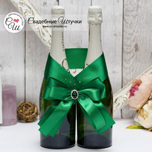 Свадебное украшение для шампанского Ренессанс (изумрудный)