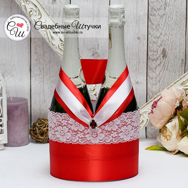 Декоративное украшение свадебных бутылок Афродита (красный)