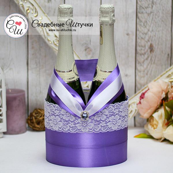 Декоративное украшение свадебных бутылок Афродита (сиреневый)