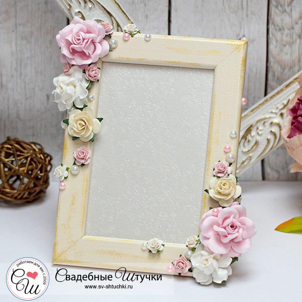 """Свадебная фоторамка """"Таинственный сад"""", айвори-розовый"""