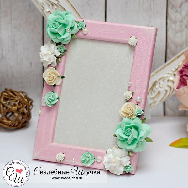"""Свадебная фоторамка """"Таинственный сад"""", розово-мятный"""