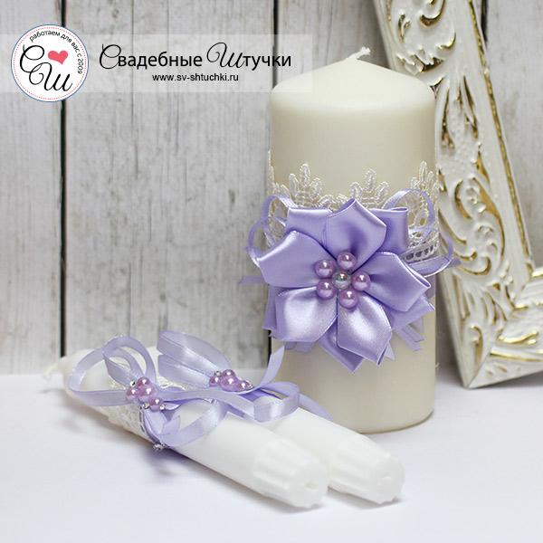 Домашний очаг + 2 свечи Нежные цветы (без подсвечников) (сиреневый)