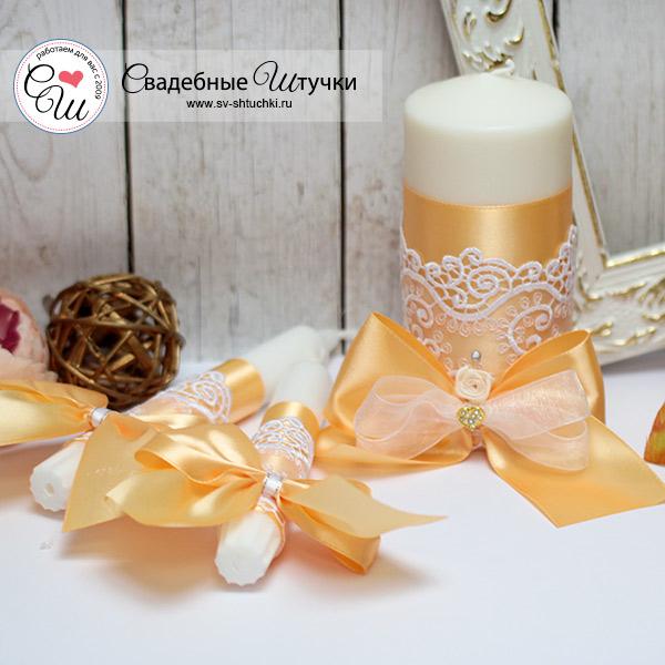 """Свадебные свечи для молодоженов """"Золотое сердце"""" (без подсвечников) (золотой)"""