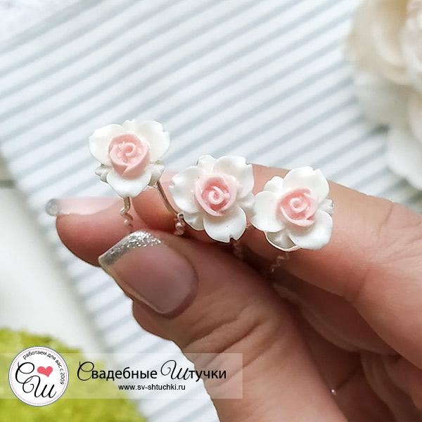 """Шпилька для прически невесты """"Цветок с розовой сердцевинкой"""""""