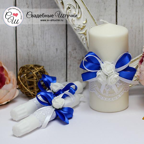 Семейный очаг + 2 свечи Розанна (без подсвечников) (синий)