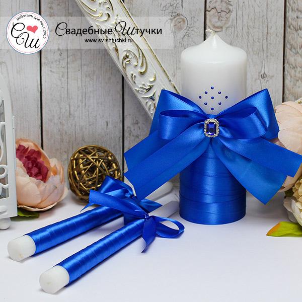 Свадебный набор свечей Ренессанс (без подсвечников) (синий)