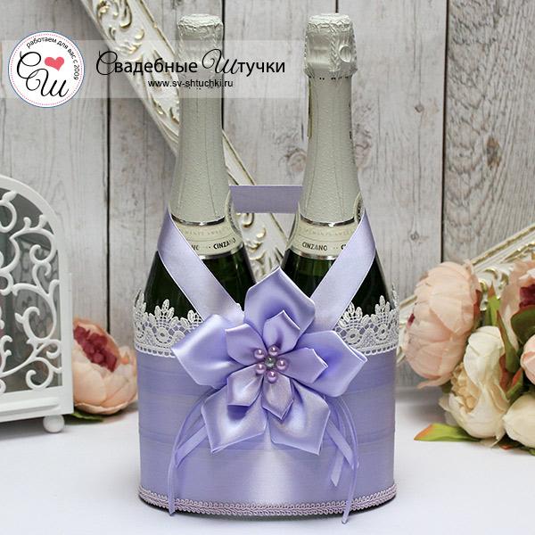 Декоративный чехол для шампанского Нежные цветы (сиреневый)