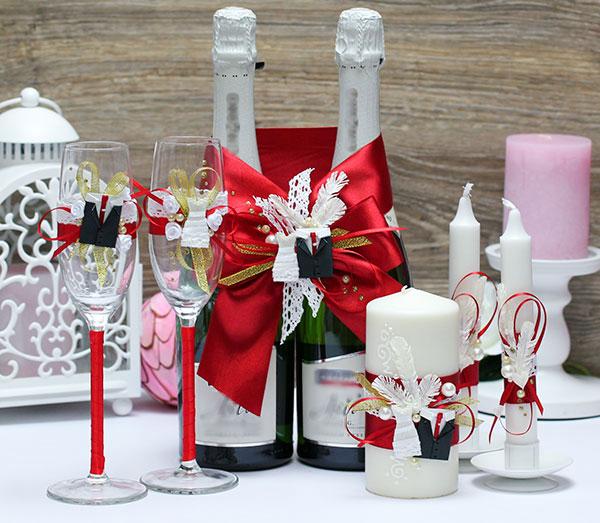 Комплект аксессуаров для свадьбы Счастливая пара (красный)