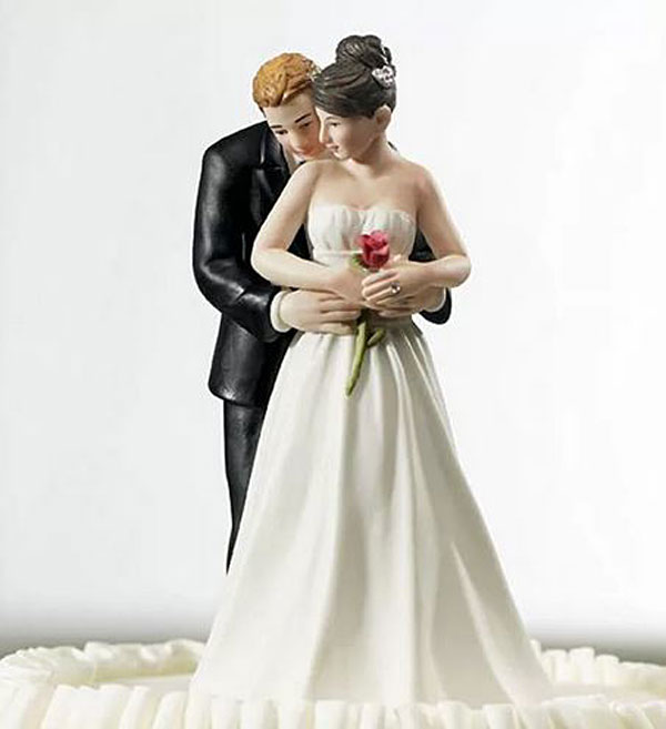 """Свадебная фигурка в торт """"Обнимашки"""", 13х7см"""
