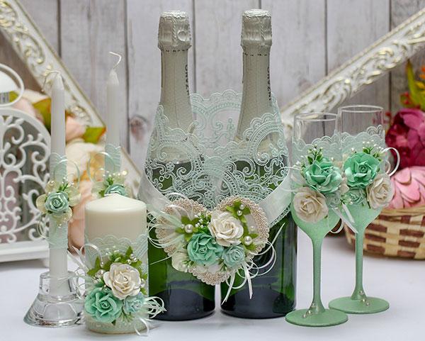 Комплект аксессуаров для свадьбы Райские цветы (мятный)