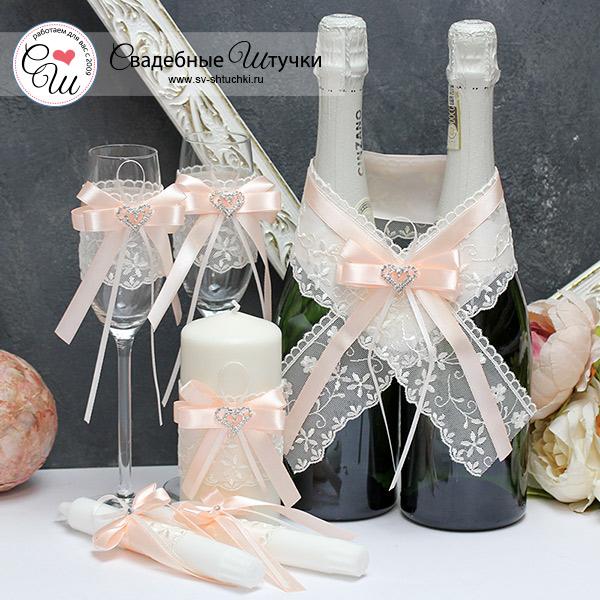Комплект аксессуаров для свадьбы Нежное сердце (персиковый)
