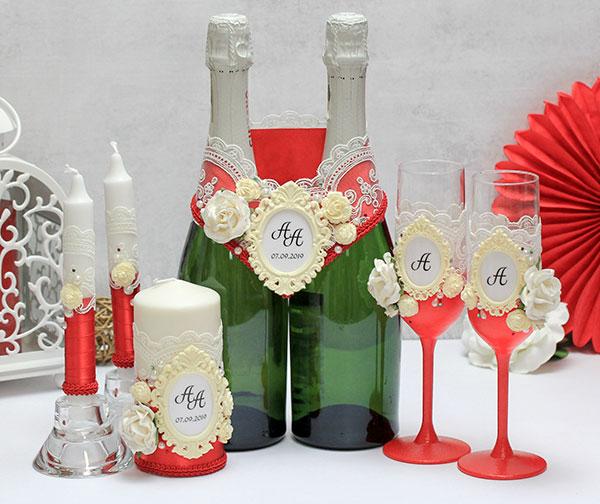 Комплект свадебных аксессуаров Сливочный десерт (красный)