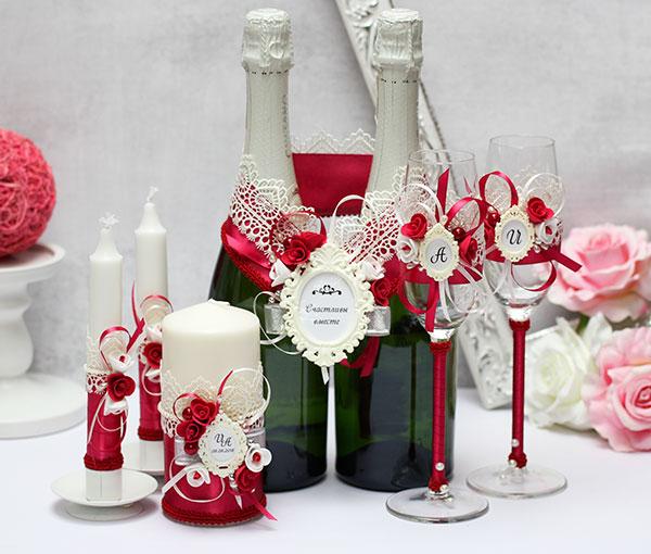 Комплект свадебных аксессуаров Летний вечер (бордовый)