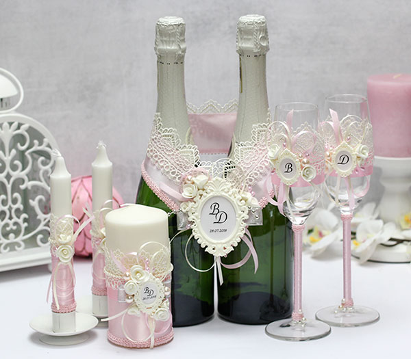 Комплект свадебных аксессуаров Летний вечер (розовый)