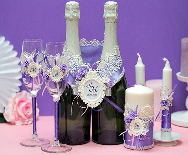 Комплект свадебных аксессуаров Летний вечер (сиреневый)