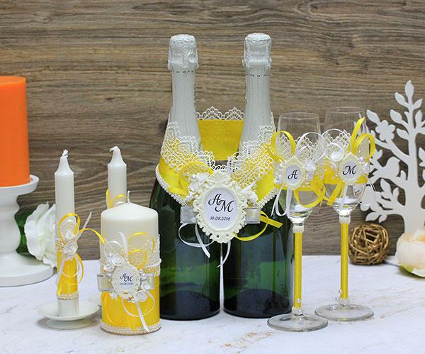 Комплект свадебных аксессуаров Летний вечер (желтый)
