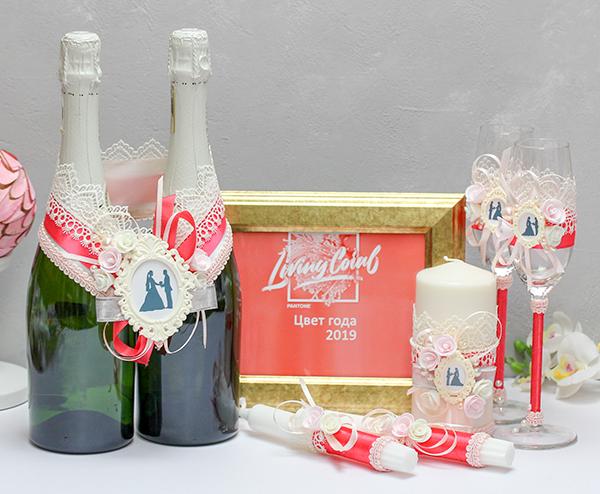 Комплект свадебных аксессуаров Летний вечер (коралловый)