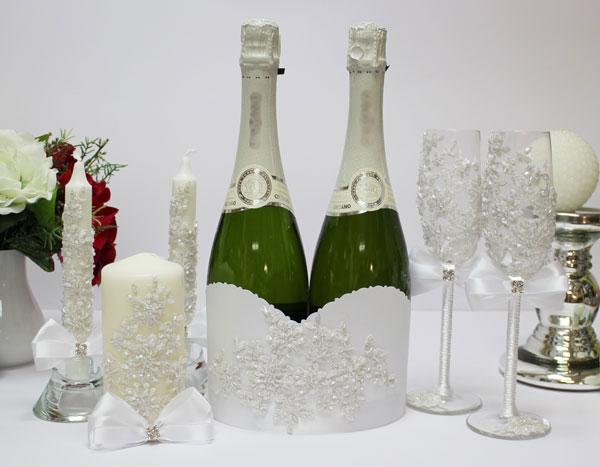 Комплект аксессуаров для свадьбы Сонет (белый)