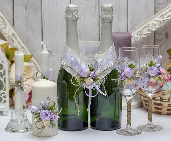 Комплект аксессуаров для свадьбы Прованс (сиреневый)