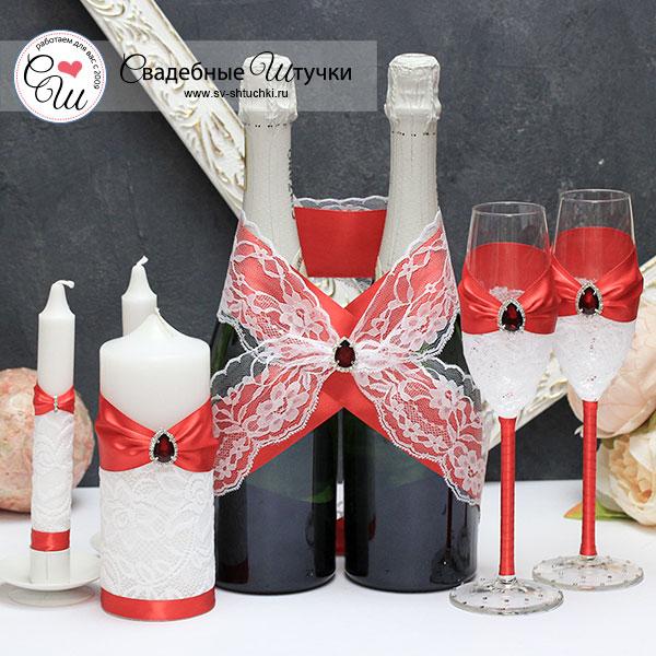 Комплект свадебных аксессуаров Афродита (красный)