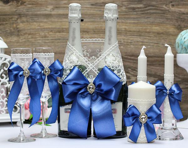Комплект свадебных аксессуаров Винтажный шик (темно-синий)