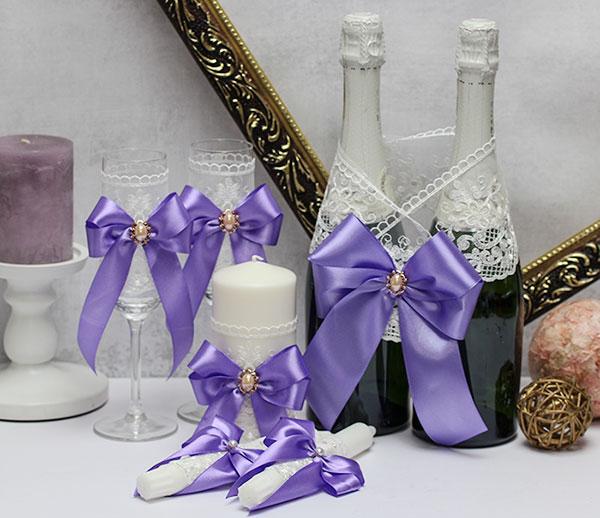 Комплект свадебных аксессуаров Винтажный шик (сиреневый)
