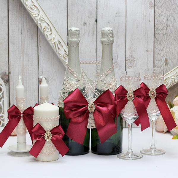 Комплект свадебных аксессуаров Винтажный шик (винный)