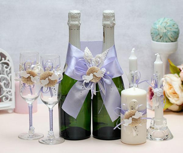 Комплект аксессуаров для свадьбы Семейное гнездышко (сиреневый)