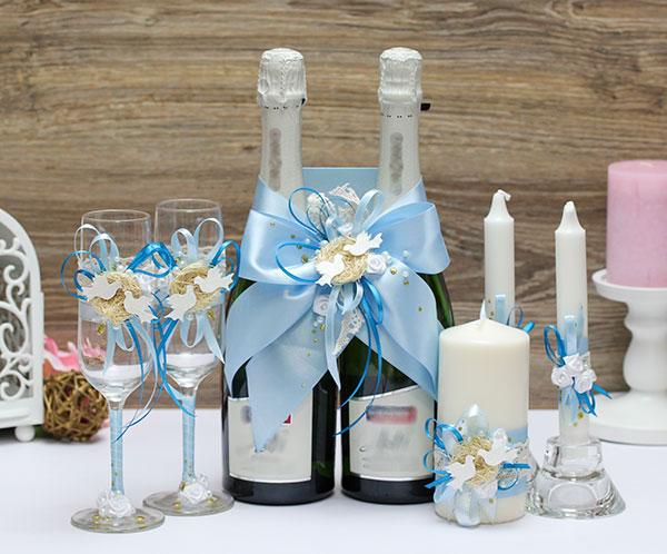 Комплект аксессуаров для свадьбы Семейное гнездышко (голубой)