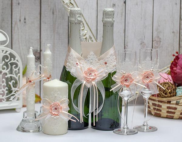 Комплект аксессуаров для свадьбы Нежное мгновение (персиковый)