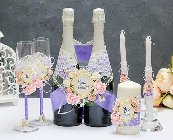 Комплект свадебных аксессуаров Таинственный сад (сиреневый)