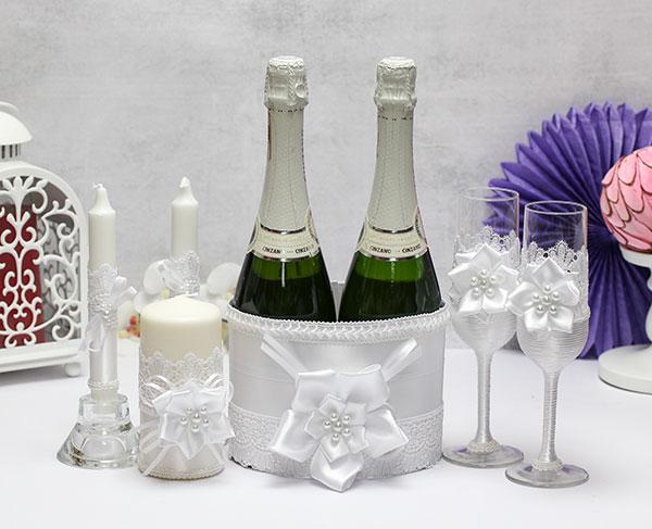 Комплект аксессуаров для свадьбы Нежные цветы (белый)