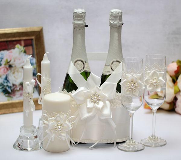 Комплект аксессуаров для свадьбы Нежные цветы (айвори)
