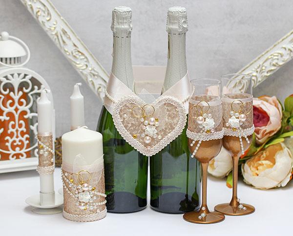 Комплект аксессуаров для свадьбы Античное золото (золотой)