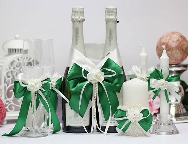 Комплект аксессуаров на свадьбу Romantic (изумрудный)
