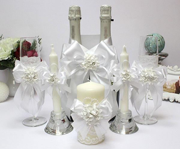 Комплект аксессуаров на свадьбу Romantic (белый)