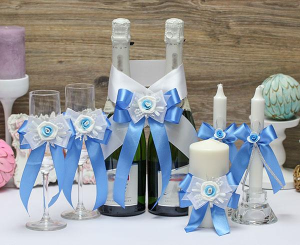 Комплект аксессуаров для свадьбы Виола (голубой)