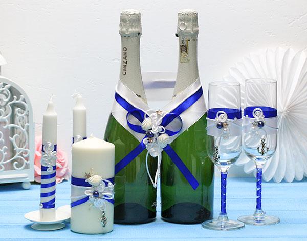 Комплект аксессуаров для свадьбы Морской бриз (синий)
