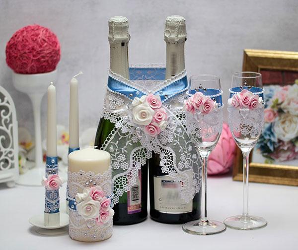 Комплект аксессуаров для свадьбы Воздушный поцелуй (голубой)