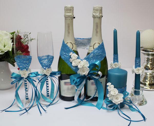 Комплект аксессуаров для свадьбы Летний бриз (бирюзовый)
