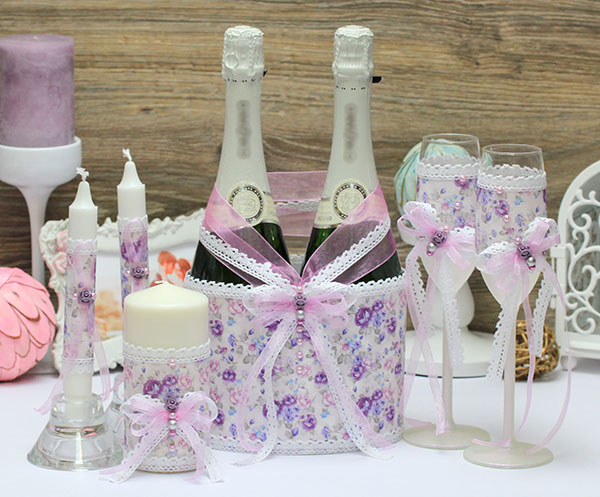 Комплект аксессуаров для свадьбы Свадьба в Провансе (сиреневый)