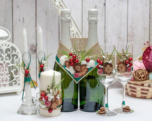 Комплект аксессуаров для свадьбы Зимняя сказка (природный)