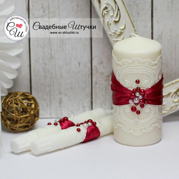 Свадебные свечи для молодоженов Жемчужина (без подсвечников) (винный)